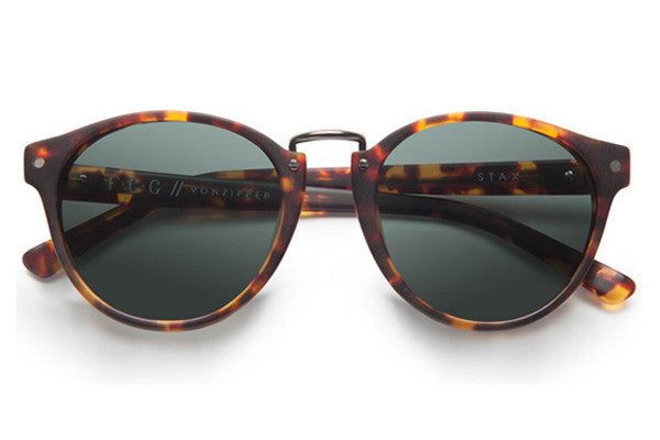 Von Zipper - Stax Tortoise Satin TOR Sunglasses, Vintage Grey Lenses