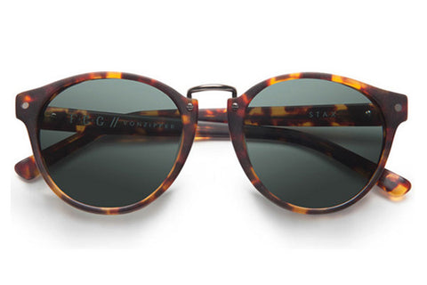 VonZipper Stax Tortoise Satin TOR Sunglasses, Vintage Grey Lenses