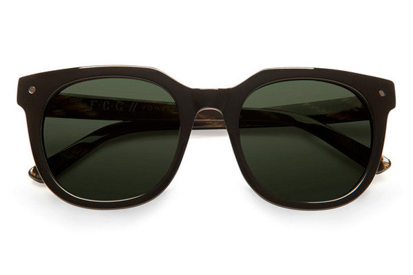 Von Zipper - Wooster Black Gloss BKV Sunglasses, Vintage Grey Lenses