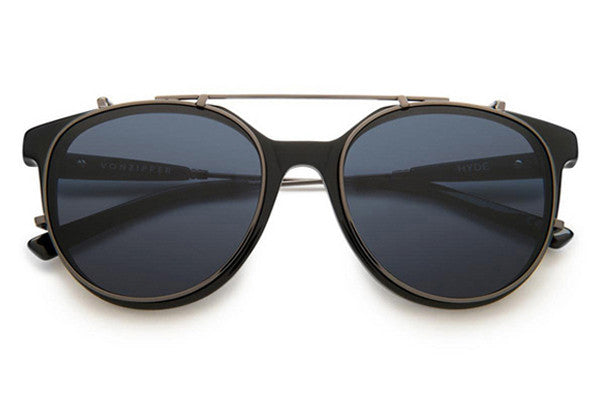 Von Zipper - Hyde Black Gloss Satin Gunmetal BLB Sunglasses, Light Blue-Vintage Lenses