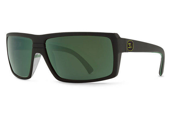 Von Zipper - Snark Black Satin Gloss Green Stripe BZG Sunglasses, Quasar Eclipse Lenses