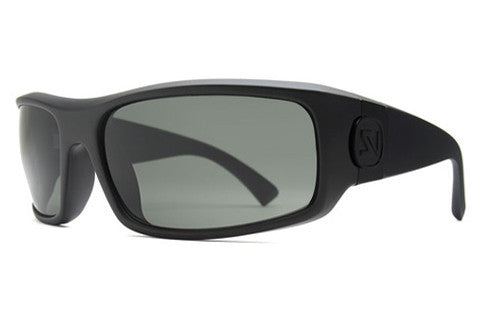 Suncloud - Cutout Black Sunglasses, Green Mirror Polarized Lenses