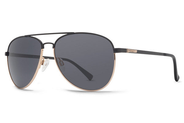 VonZipper Farva Black Satin Gold BGY Sunglasses, Grey Lenses
