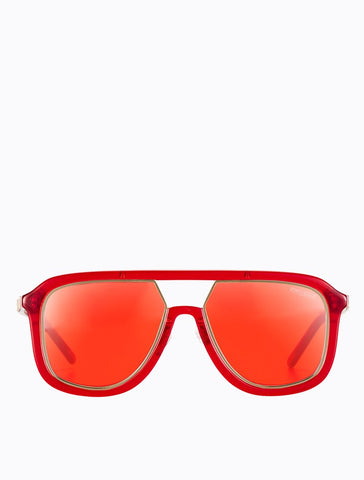 Poppy Lissiman - Stingray Cherry Red Gold Sunglasses / Red Lenses