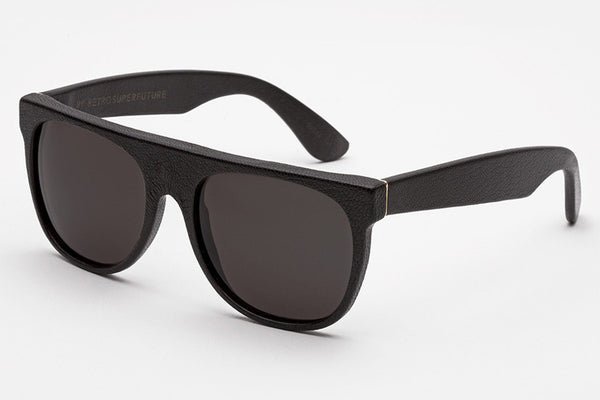 Super - Flat Top Leather Black Sunglasses