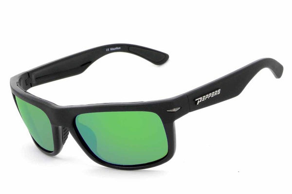 Peppers - Stockton Matte Black Sunglasses, Green Mirror Lenses