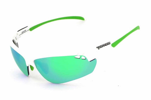 Peppers - Frontline White Sunglasses, Green Mirror Lenses