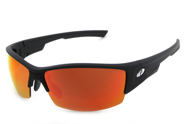 Peppers Swift Matte Black Sunglasses, Heavy Fire Red Mirror Lenses