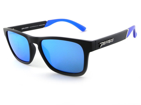 Peppers - Little Asher Matte Black Sunglasses, Blue Mirror Lenses