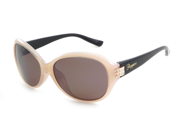 Peppers - Kendall Milky Pink + Shiny Black Temples Sunglasses, Flash Mirror Lenses