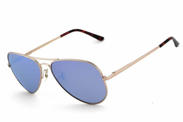 Peppers - Maverick Shiny Gold Sunglasses, Blue Mirror Lenses