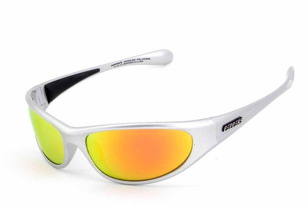 Peppers - Backlash Matte Silver Sunglasses, Orange Flash Mirror Lenses