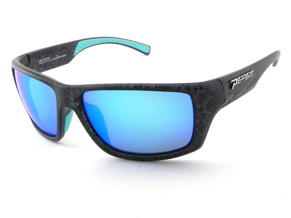 Peppers - Breeze Textured Matte Black Sunglasses, Blue Mirror Lenses