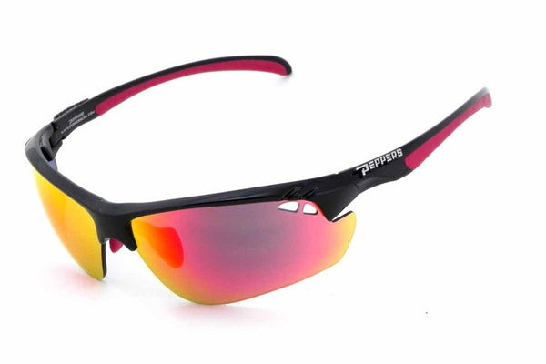 Peppers - Frontline Black Sunglasses, Red Mirror Lenses