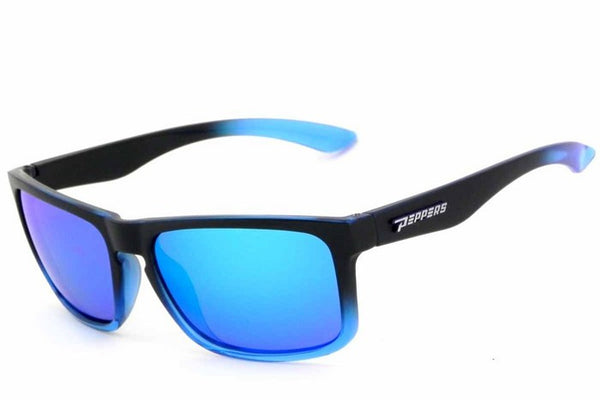 Peppers Sunset Blvd Black & Blue Sunglasses, Blue Mirror Lenses