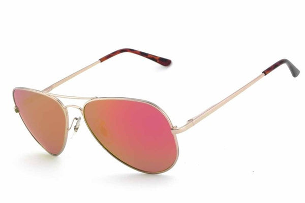 Peppers - Maverick Shiny Gold Sunglasses, Red Mirror Lenses
