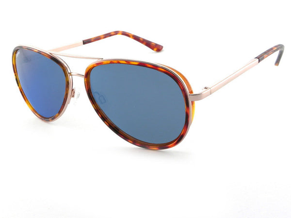 Peppers - Luna Gold and Tortoise Rim Sunglasses, Blue Mirror Lenses
