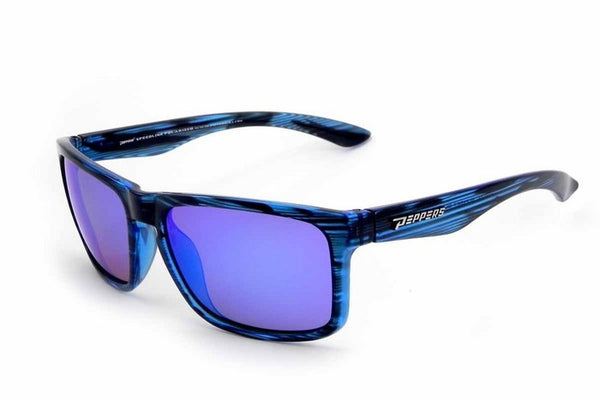 Peppers - Sunset Blvd Blue Tort Sunglasses, Blue Mirror Lenses