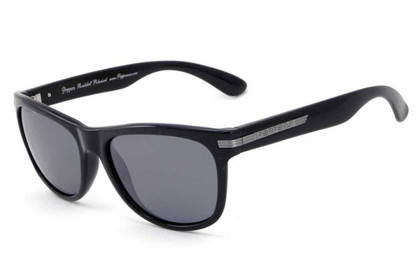 Peppers Westwood Shiny Black Sunglasses, Flash Mirror Lenses