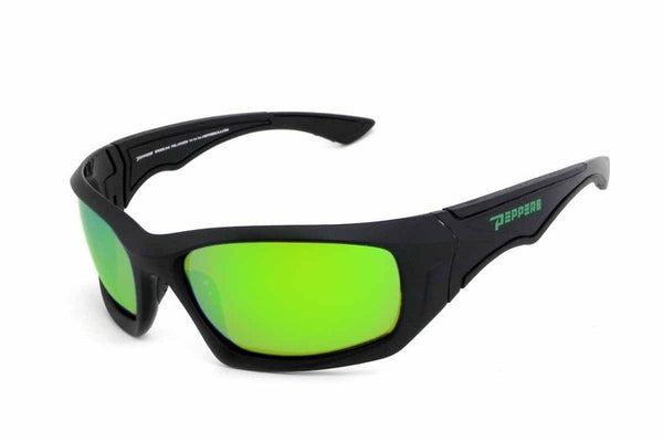Peppers - Island Stream Black Sunglasses, Green Mirror Lenses