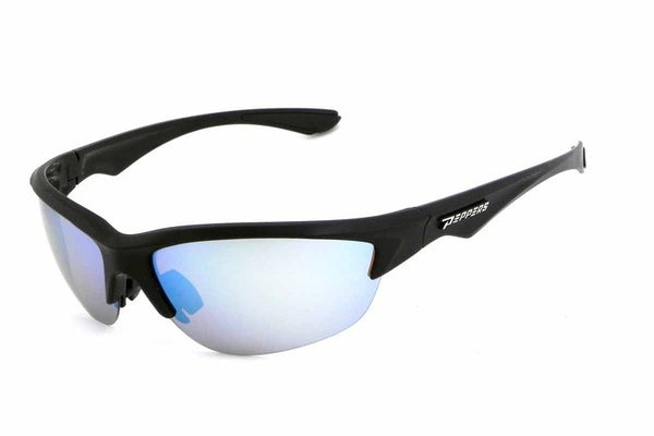 Peppers - Road Warrior Black Sunglasses, Blue Mirror Lenses