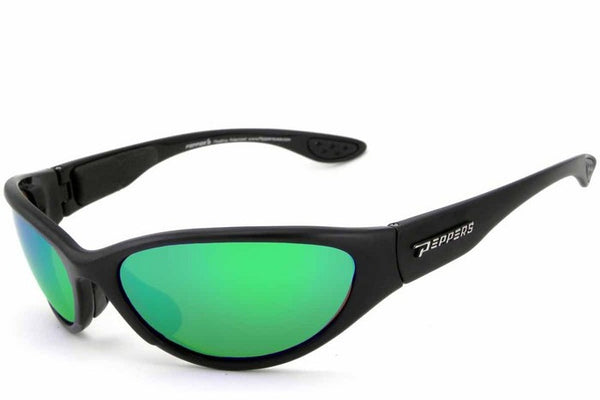Peppers - Breakwater Matte Black Sunglasses, Green Mirror Lenses