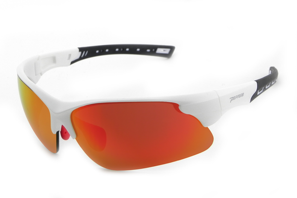 Peppers - Swift Matte White Sunglasses, Heavy Fire Red Mirror Lenses