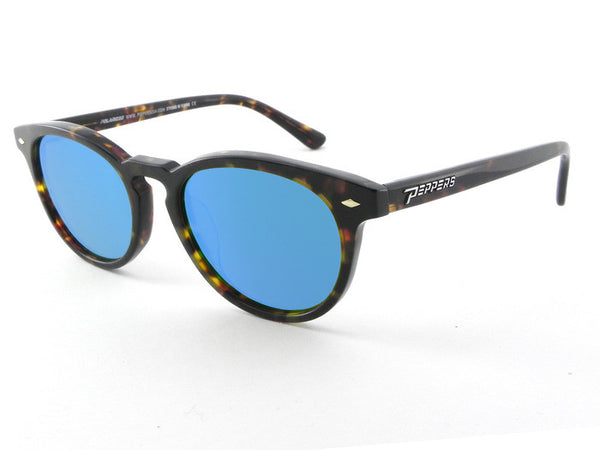 Peppers - Princeton Havana Tort Sunglasses, Blue Mirror Lenses