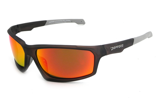 Peppers - Trigger Matte Black Sunglasses, Fire Red Mirror Lenses