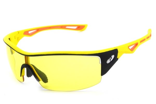 Peppers - Walker Matte Black +Matte Yellow Sunglasses, High Def Yellow Lenses