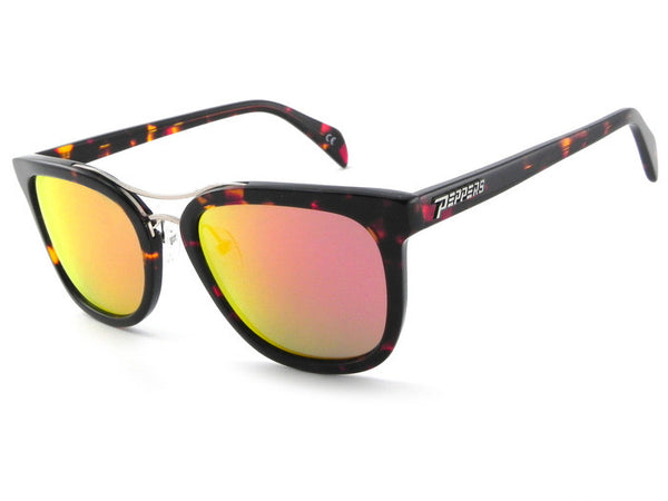 Peppers - Lenox Havana Tort Sunglasses, Red Mirror Lenses