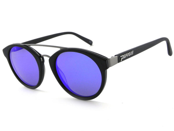 Peppers - Wicked Matte Black Sunglasses, Blue Mirror Lenses