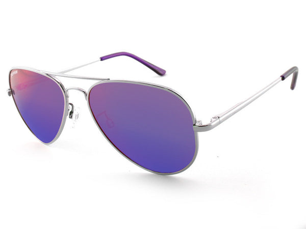 Peppers - Katama Silver Sunglasses, Purple Mirror Lenses