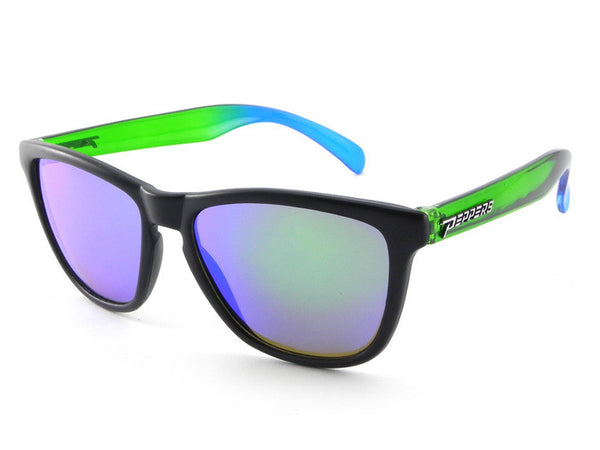 Peppers - Breakers Black Front + Fade Temples Sunglasses, Green Mirror Lenses