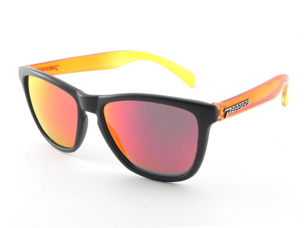 Peppers - Breakers Black + Yellow Orange Sunglasses, Red Mirror Lenses