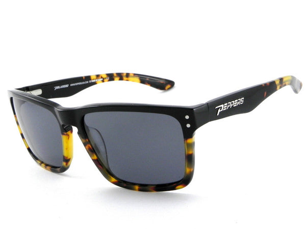 Peppers - Sunset Beach Black + Tokyo Tort Sunglasses, Smoke Lenses