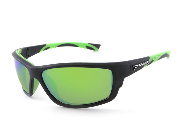 Peppers - Rogue Matte Rubberized Black Sunglasses, Green Mirror Lenses