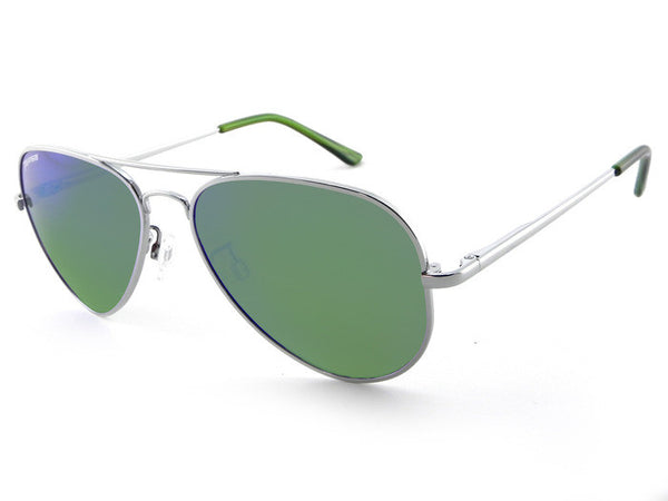 Peppers - Katama Silver Sunglasses, Green Mirror Lenses