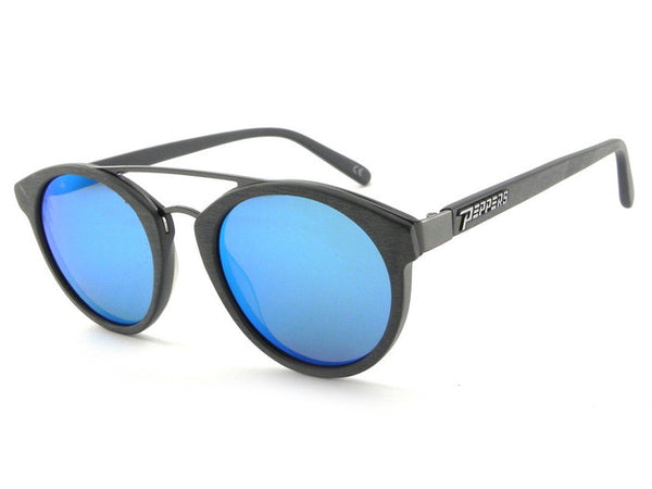 Peppers - Wicked Brushed Grey Sunglasses, Blue Mirror Lenses