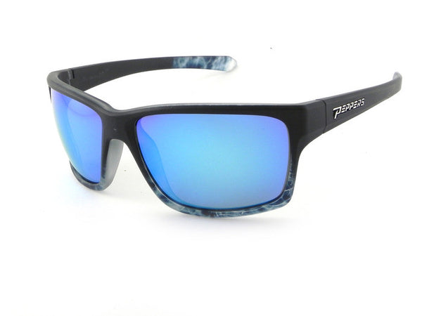 Peppers - Mana Black + Blue Tort Fade Sunglasses, Blue Mirror Lenses
