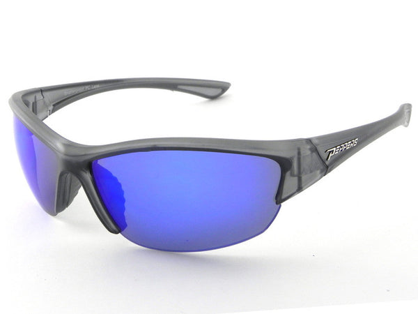 Peppers - Kichturn Matte Crystal Grey Sunglasses, Blue Mirror Lenses