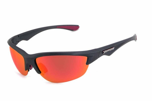 Peppers - Road Warrior Black Sunglasses, Red Mirror Lenses