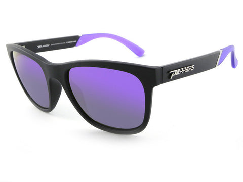 Peppers - Player Matte Black Sunglasses, Purple Mirror Lenses