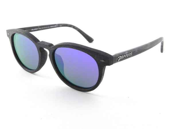Peppers - Princeton Black + Grey Temples Sunglasses, Purple Mirror Lenses