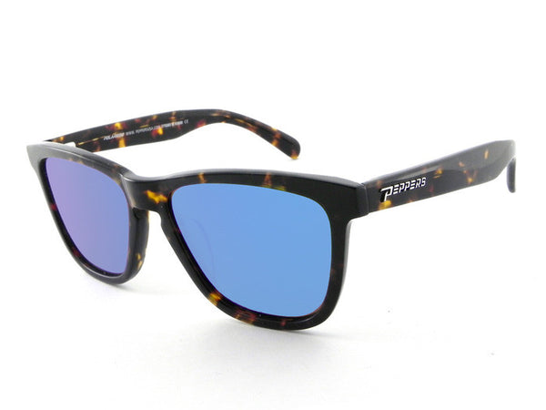 Peppers - Black Sands Havana Tort Sunglasses, Blue Mirror Lenses