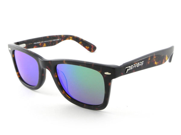 Peppers - Headwinds Havana Tort Sunglasses, Blue Mirror Lenses