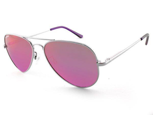 Peppers - Katama Silver Sunglasses, Pink Mirror Lenses