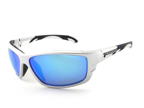 Peppers - Rogue Shiny Silver Sunglasses, Blue Mirror Lenses