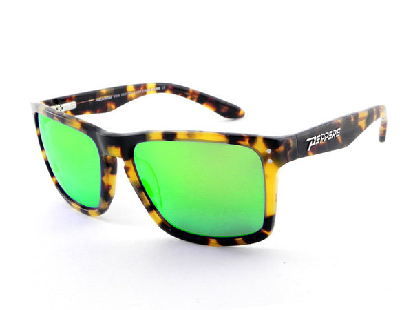 Peppers - Sunset Beach Shiny Tokyo Tort Sunglasses, Green Mirror Lenses