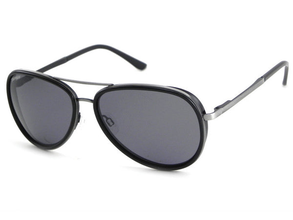 Peppers - Luna Antique Silver and Black Rim Sunglasses, Smoke Lenses